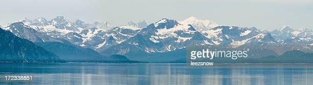 Snowy Alaska Mountain and Lake Panorama