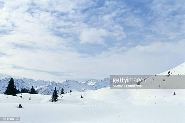 snowy alpine landscape - アロサ ストックフォトと画像