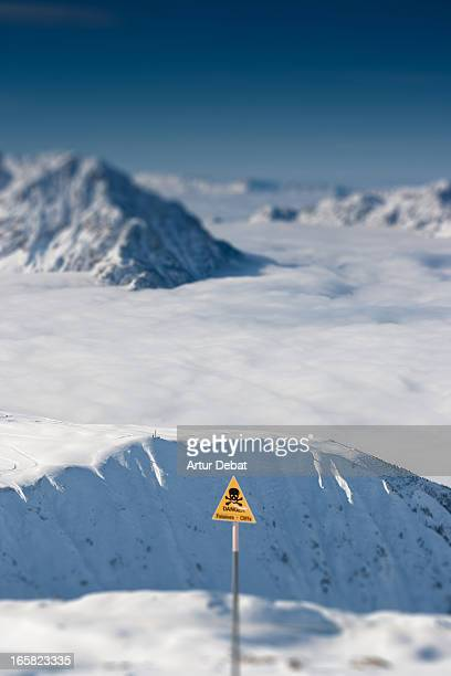 Snowy alps landscape with fog.