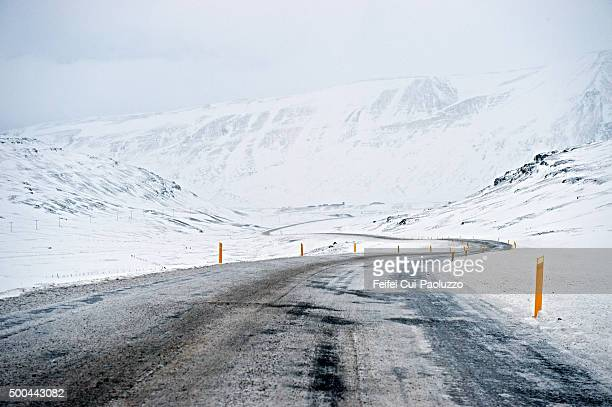 Snowy and Winding road at Budardalur in Snæfellsnes peninsula, Iceland