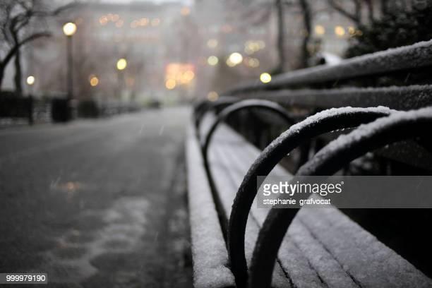 Snowy bench, Union Square Park, Manhattan, New York, America, USA
