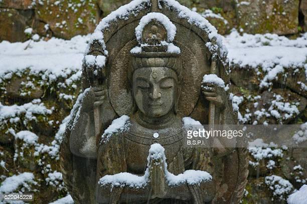 snowy buddha statue at tanukidani fudo-in temple in kyoto, japan - shingon buddhismus stock-fotos und bilder