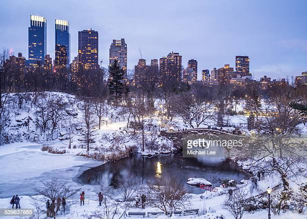 Snowy Central Park pond - New York