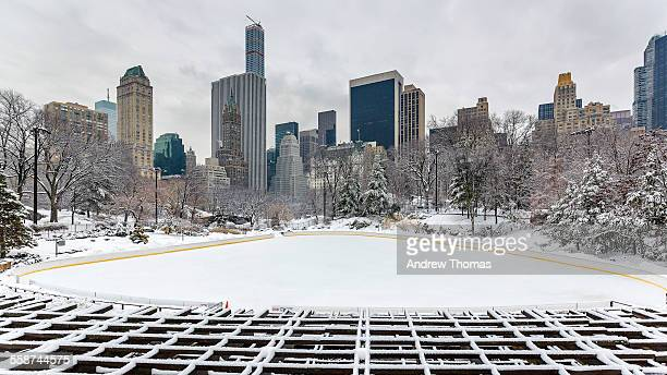 snowy central park trump ice rink - park city utah stock photos and pictures