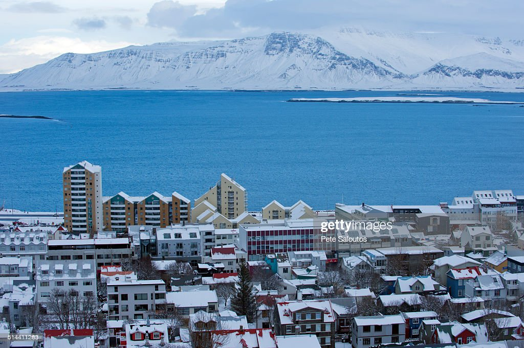 snowy city and lake in arctic landscape reykjavik