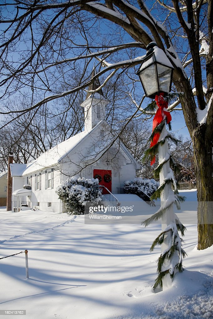 Snowy Country Church at Christmas Time : Stock Photo