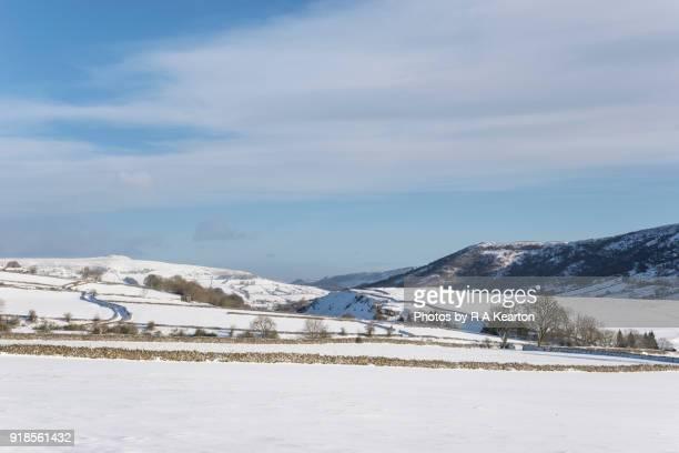 Snowy countryside at Bradwell, Derbyshire, England