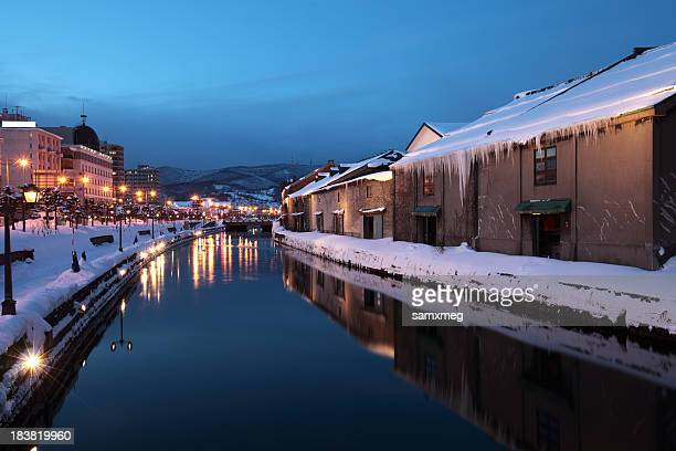 Snowy evening view along the canal in Otaru, Hokkaido, Japan