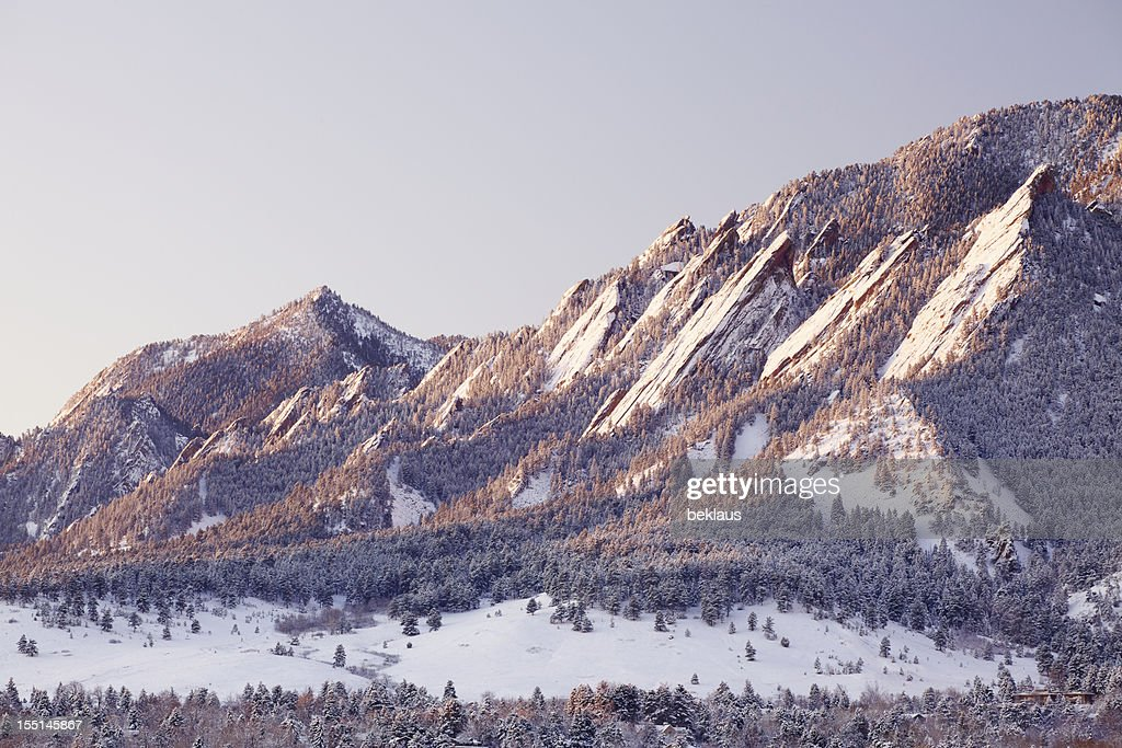 Snowy Flatirons of Boulder Colorado : Stock Photo