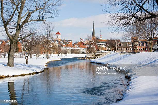 snowy frederick maryland park and flowing creek - spire stock pictures, royalty-free photos & images