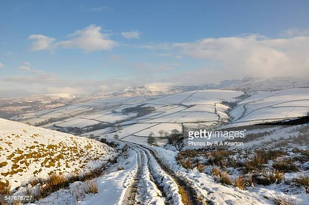 snowy hillside track in a winter landscape - polar stock pictures, royalty-free photos & images