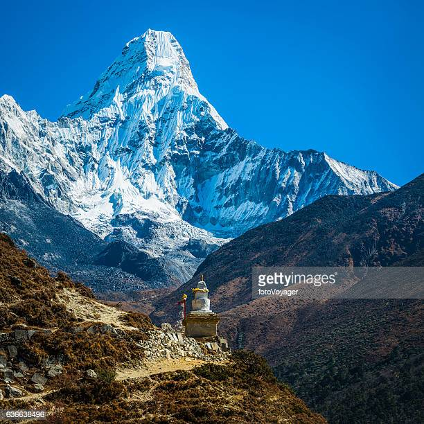 snowy himalayan mountain peak over buddhist stupa ama dablam nepal - stupa stock pictures, royalty-free photos & images