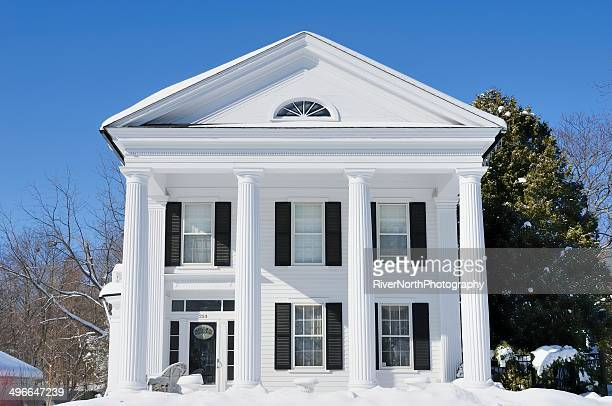 snowy house, romeo, michigan - romeo stock pictures, royalty-free photos & images