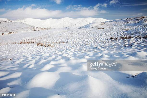 Snowy hummocks on Wansfell above Ambleside in the Lake District, UK, looking towards the Kentmere fells.