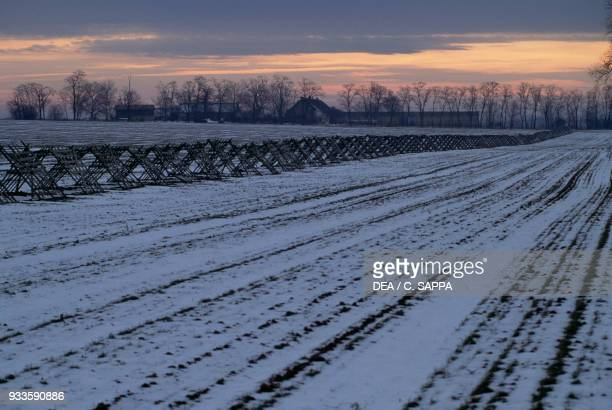 Snowy landscape at sunset near Mohacs Hungary