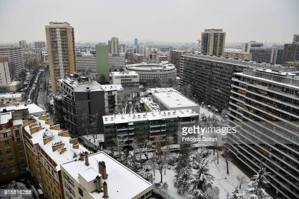 Snowy landscape in 13th Paris HLM district on february 07 2018 in Paris France