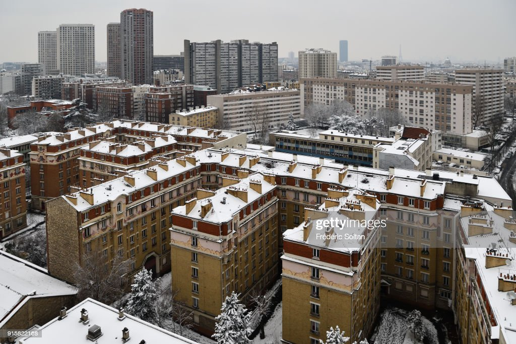 Snowy Landscape In 13th Paris, HLM District On February 07