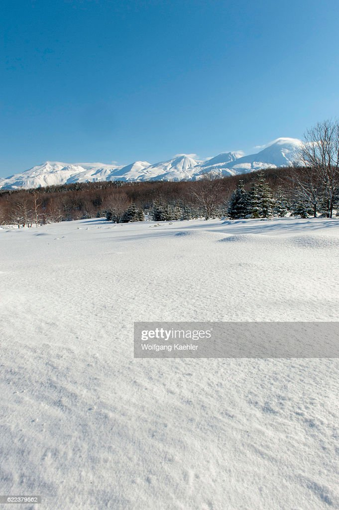 Snowy landscape in the winter with the volcanic Shiretoko... : News Photo