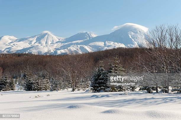 Snowy landscape in the winter with the volcanic Shiretoko mountain range in Abashiri Shiretoko National Park Shiretoko Peninsula on Hokkaido Island...