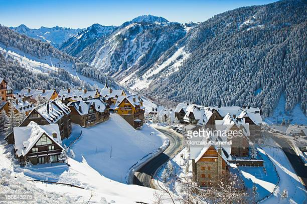 Snowy landscape in Vall de Aran or Aran Valley.