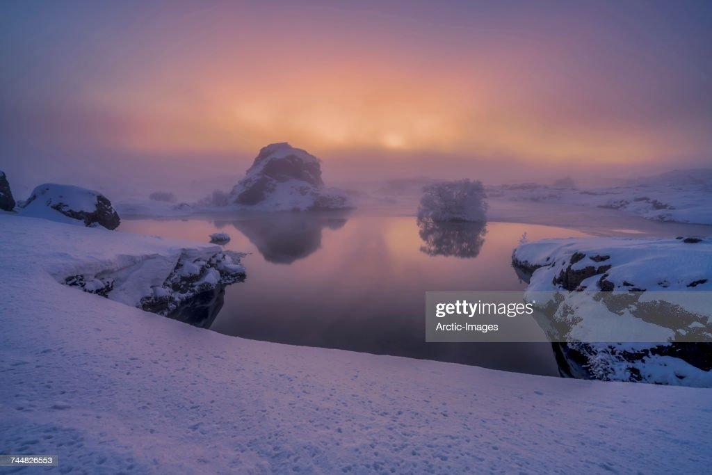 Snowy landscape, Lake Myvatn, Iceland. Image shot with a drone. : Stock Photo