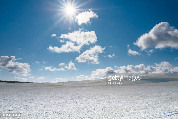 Snowy landscape on the road to Minervino Murge covered in snow from the snowfall of the night on January 18, 2021. The cold wave continues in Puglia,...