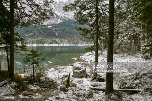 Snowy landscape with forests around Lake Eibsee, Zugspitze, Bavaria, Germany