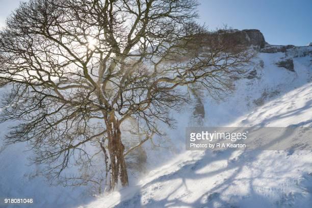 Snowy morning at Winnats Pass, Peak District, Derbyshire, England