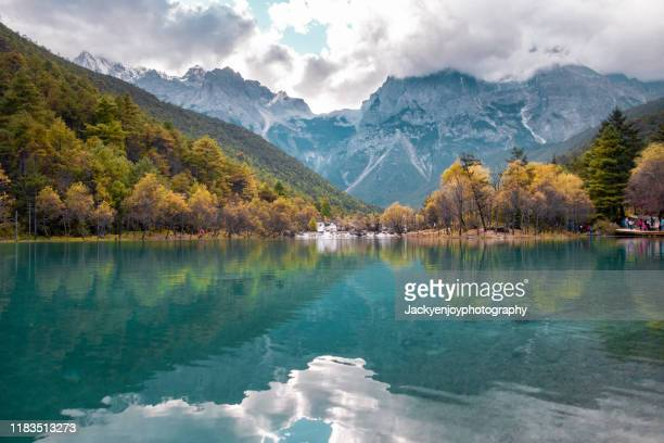 snowy mountain and trees in jade dragon scenic area with reflection - glacier stock pictures, royalty-free photos & images