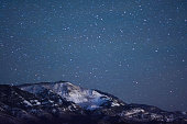 Snowy mountain at night.