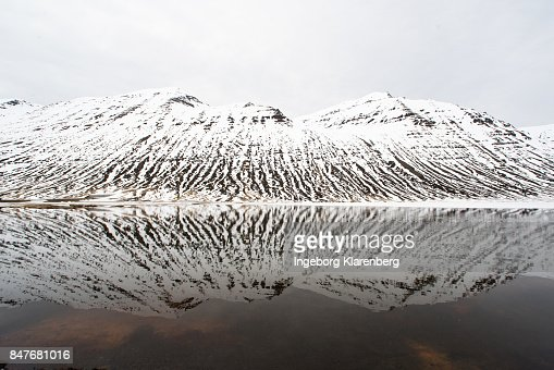 Snowy mountain reflection