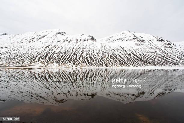 Snowy mountain reflection