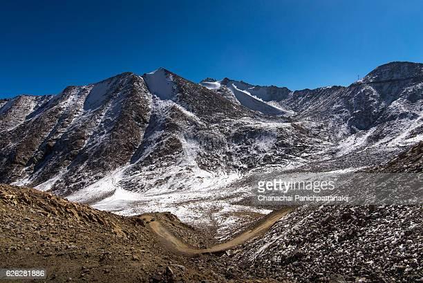Snowy mountain shot from Khardungla Top in Ladakh region, India