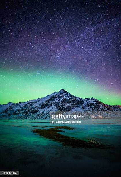 Snowy mountain with the aurora and milky way in Southern Iceland