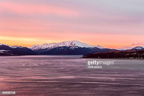 Snowy Mountains at Sunset