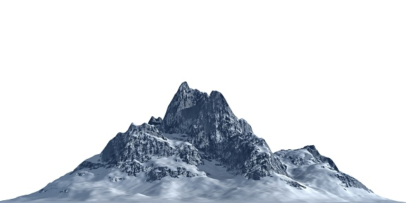 Snowy mountains Isolate on white background 3d illustration 1186000609