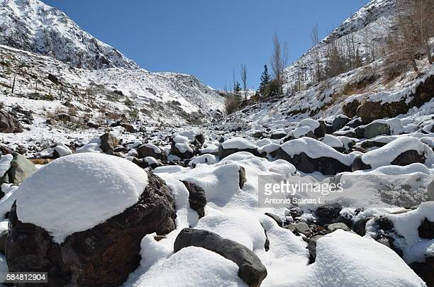 snowy near santiago de chile. maipo - tundra stock pictures, royalty-free photos & images