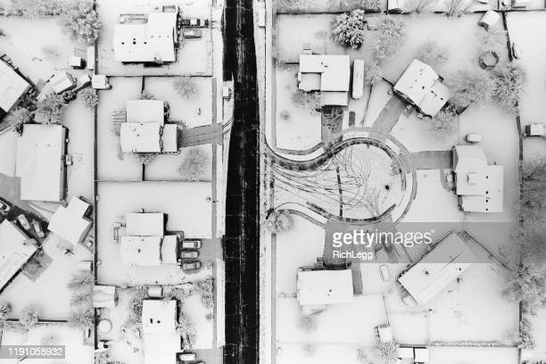 snowy neighborhood drone aerial view - cul de sac stock pictures, royalty-free photos & images