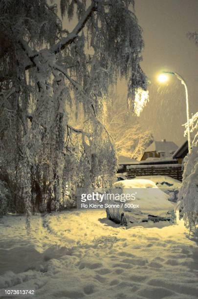 snowy night in denmark - sonne stock pictures, royalty-free photos & images