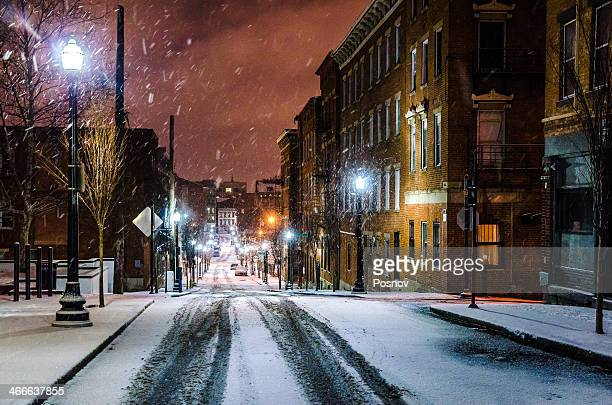 snowy night - ohio stock pictures, royalty-free photos & images