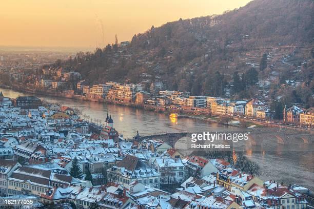 snowy old town of heidelberg - heidelberg stock-fotos und bilder