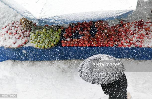 snowy open market