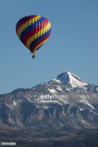 Snowy Pagosa Peak San Juan Range hot air balloon Colorado