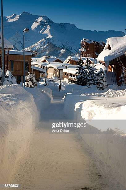 Snowy path in Alpe d'Huez.