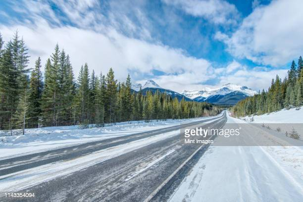 snowy road - deep snow stock pictures, royalty-free photos & images
