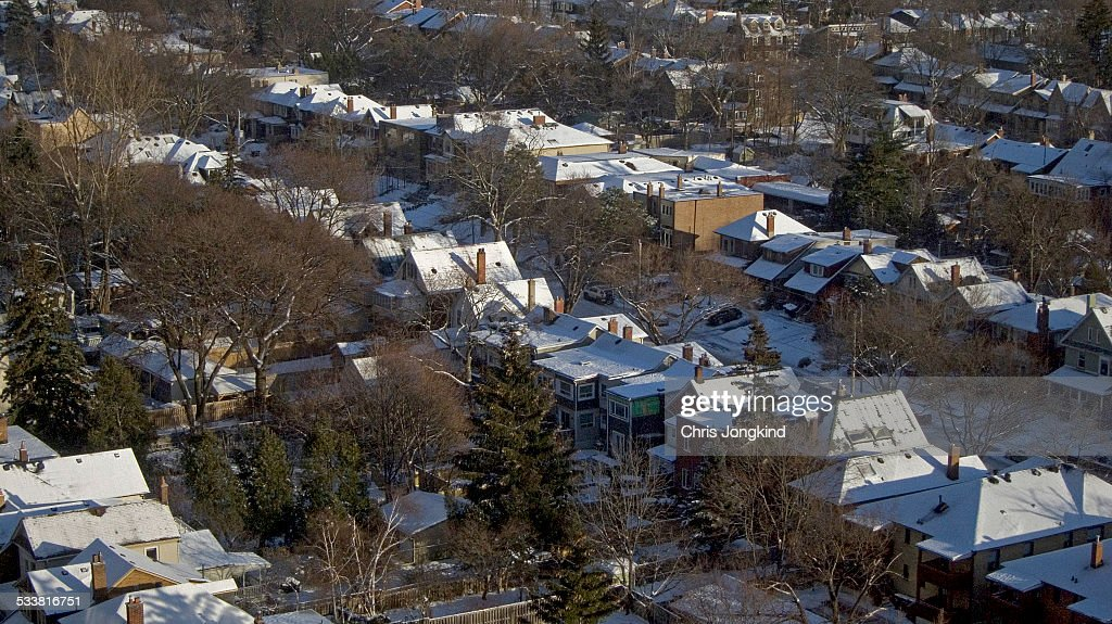 Snowy Rooftops on Houses : Foto stock