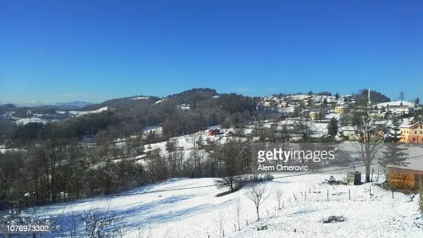 Snowy rural setlement landscape