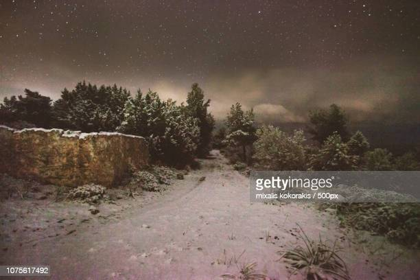 snowy spetses island