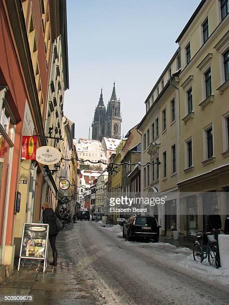 Snowy street, Meissen, Germany