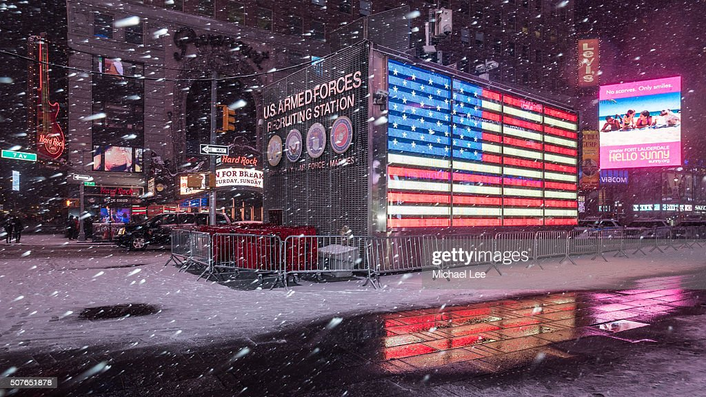 Snowy Times Square - New York : Stock Photo